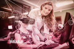 Composite image of various graphs and connectivity points. Various graphs and connectivity points  against child using 3d glasses Stock Photo