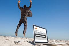 Composite image of victorious businessman jumping leaving his laptop Stock Photo