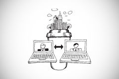 Composite image of video chat doodle Royalty Free Stock Images