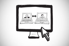 Composite image of video chat doodle on computer screen. Video chat doodle on computer screen against white background with vignette Royalty Free Stock Photo