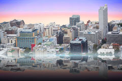 Composite image of view of crowded buildings in city Royalty Free Stock Photo