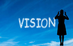 Composite image of vision written in white in sky Royalty Free Stock Image