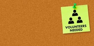 Composite image of volunteers needed. Volunteers needed against digital image of pushpin on green paper Stock Image