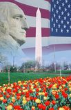 Composite image of Washington Monument, American flag, and profile of George Washington Stock Image