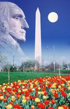 Composite image of Washington Monument, full moon, and profile of George Washington royalty free stock image