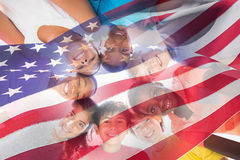 Composite image of waving flag of america Stock Images