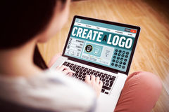 Composite image of webpage for create a logo Stock Image