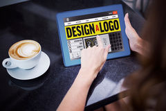 Composite image of webpage for create a logo. Webpage for create a logo against woman having coffee and using her tablet Stock Images