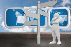 Composite image of white character choosing direction. White character choosing direction against balcony and cloudy sky stock illustration