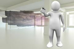 Composite image of white character holding marker. White character holding marker against abstract screen in room showing cloudy sky Royalty Free Stock Photography