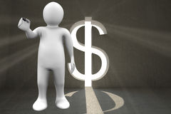 Composite image of white character holding marker. White character holding marker against grey room with dollar door Stock Image