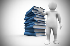 Composite image of white character holding marker. White character holding marker against stack of books Stock Images