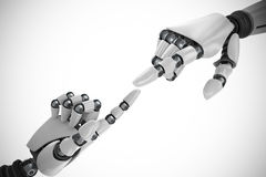 Composite image of white robot arm pointing at something Royalty Free Stock Photography