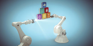 Composite image of white robotic hands holding computer icons against blue background. White robotic hands holding computer icons against white background Royalty Free Stock Images