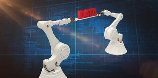 Composite image of white robotic hands holding red data message Royalty Free Stock Photography