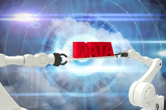 Composite image of white robotic hands holding red data message Stock Photos
