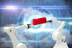 Composite image of white robotic hands holding red data message Stock Image