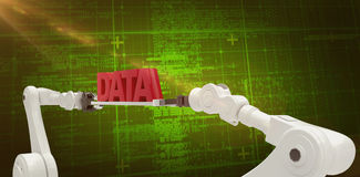 Composite image of white robotic hands holding red data message Stock Images