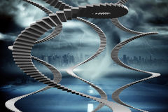 Composite image of winding stairs Stock Photo
