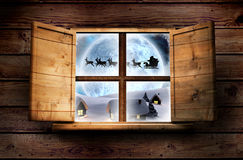 Composite image of window in wooden room Stock Image