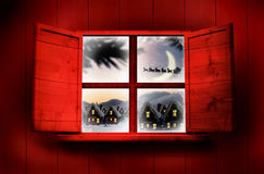 Composite image of window in wooden room Royalty Free Stock Photos
