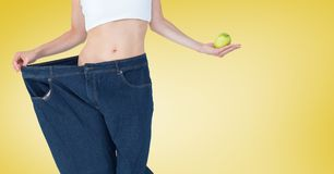 Composite image of woman and apple. Digital composite of Composite image of woman and apple royalty free stock photography