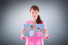 Composite image of woman arguing with ignoring man Royalty Free Stock Images