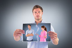 Composite image of woman arguing with uncaring man Stock Photography