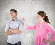 Composite image of woman arguing with uncaring man Royalty Free Stock Image