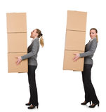 The composite image of woman with boxes Royalty Free Stock Photography