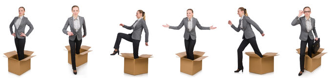 The composite image of woman with boxes on white Stock Images