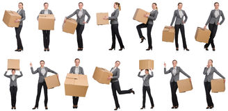 The composite image of woman with boxes on white Stock Photo