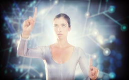 Composite image of woman gesturing against white background Royalty Free Stock Photography