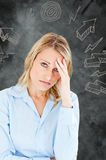 Composite image of woman with headache Royalty Free Stock Image