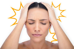 Composite image of woman with headache Stock Photo