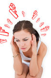 Composite image of woman with headache Stock Image