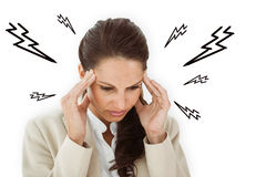 Composite image of woman with headache Stock Images