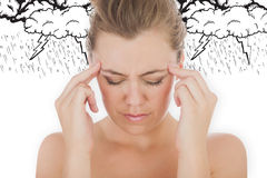 Composite image of woman with headache Stock Photos