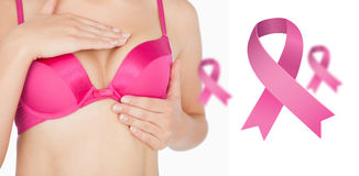 Composite image of woman performing self breast examination Stock Photos