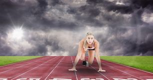 Composite image of woman at sport stock illustration