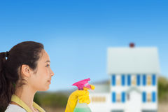 Composite image of woman spraying cleaning product Royalty Free Stock Images