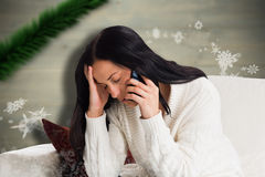 Composite image of woman suffering from a migrane Royalty Free Stock Photos