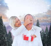 Composite image of woman surprising man with gift Stock Photography