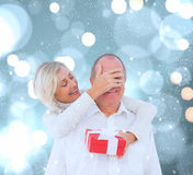 Composite image of woman surprising man with gift Royalty Free Stock Photos