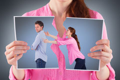 Composite image of woman trying to hug man Stock Images