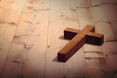 Composite image of wooden cross Royalty Free Stock Images