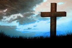Composite image of wooden cross Royalty Free Stock Photo