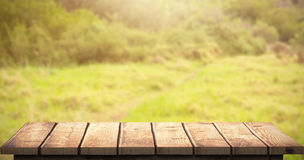 Composite image of wooden floor. Wooden floor against image of a greenness hiking path Stock Photo