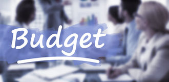Composite image of word budget underlined. Word budget underlined against business people in board room meeting royalty free stock images