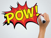 Composite image of the word pow. The word pow against female hand writing with marker royalty free stock photos